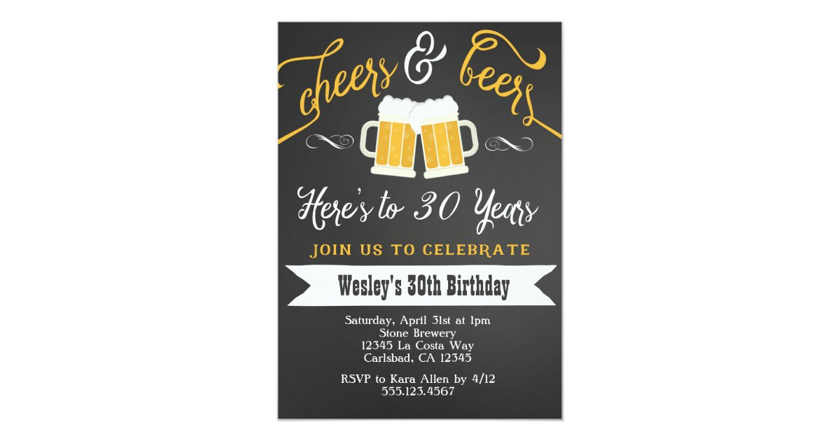 Cheer And Beers Birthday Party Invitation For Men Zazzle