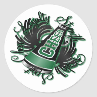 Cheer Black and Green Qualities Classic Round Sticker