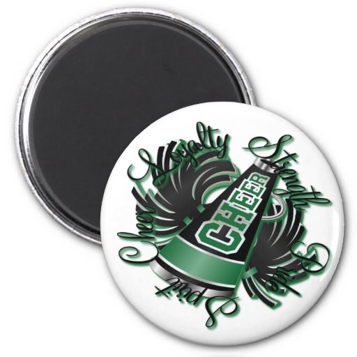 Cheer Black and Green Qualities 2 Inch Round Magnet
