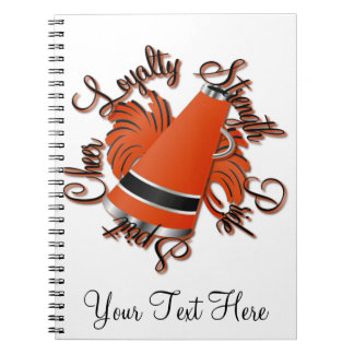 Cheer Black and Orange Qualities Spiral Notebook
