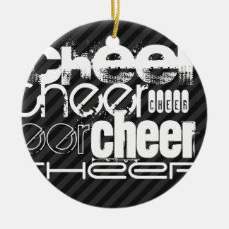 Cheer; Black & Dark Gray Stripes Ceramic Ornament