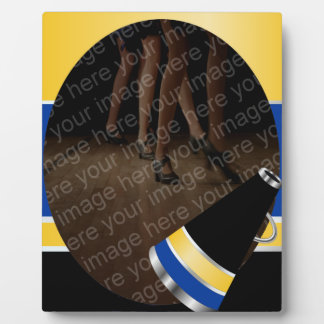 Cheer Blue and Yellow and Black Photo Plaque