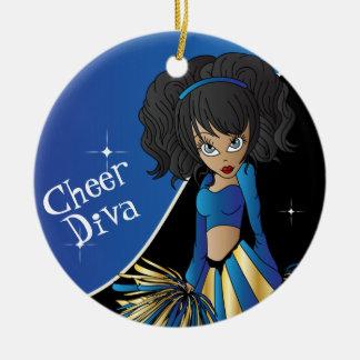 Cheer Blue Cheerleader Diva Girl Ceramic Ornament