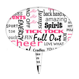 cheer cheerleading pink and black cake topper
