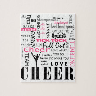 cheer cheerleading pink and black puzzle