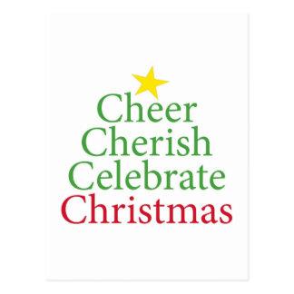 Cheer, Cherish, Celebrate Christmas! Postcard
