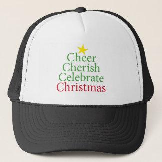 Cheer, Cherish, Celebrate Christmas! Trucker Hat
