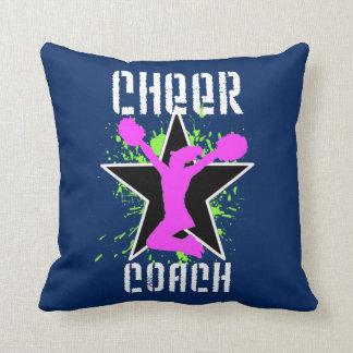 Cheer coach blue throw pillow