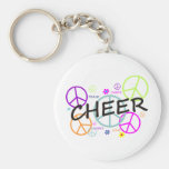 Cheer Colored Peace Signs Keychains