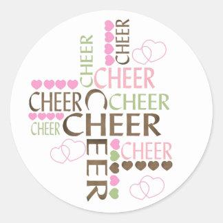 cheer cross classic round sticker