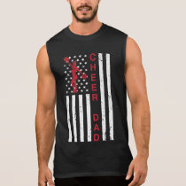 Cheer Dad 4th of July USA Flag Cheerleading Father Sleeveless Shirt