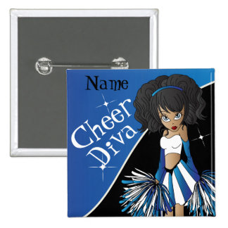 Cheer Diva Blue Cheerleader Girl Buttons