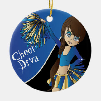 Cheer Diva Blue Cheerleader Girl Ceramic Ornament