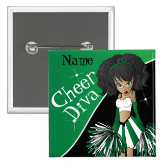 Cheer Diva Cheerleader Girl | DIY Name | Green Button