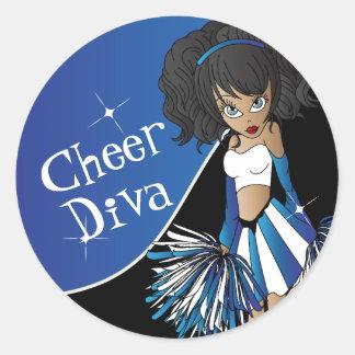 Cheer Diva Girl Cheerleader in Blue Classic Round Sticker