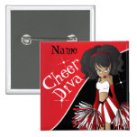 Cheer Diva Girl Cheerleader in Red Button