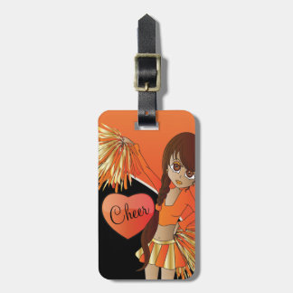Cheer Diva Orange Cheerleader Bag Tag