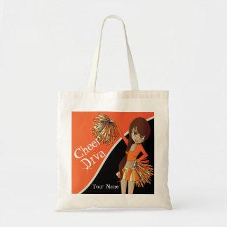 Cheer Diva Orange Cheerleader   DIY Name Tote Bag