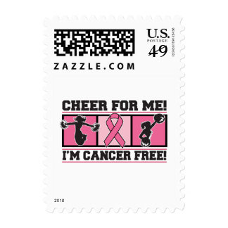 Cheer For Me I'm Cancer Free - Breast Cancer Stamp