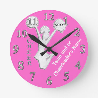 Cheer Gifts from Coaches, Change COLORS, YOUR TEXT Round Clock