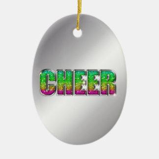 Cheer Glitter Rainbow Ceramic Ornament