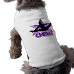 Cheer in purple dog t shirt