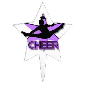 Cheer leader in purple cake topper