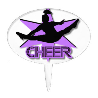 Cheer leader in purple cake topper
