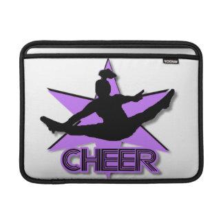 Cheer leader in purple MacBook sleeves