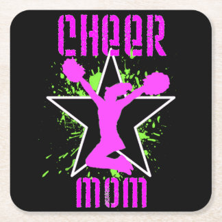 Cheer Mom Square Paper Coaster