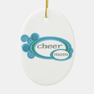 Cheer Mom Swirl Ceramic Ornament