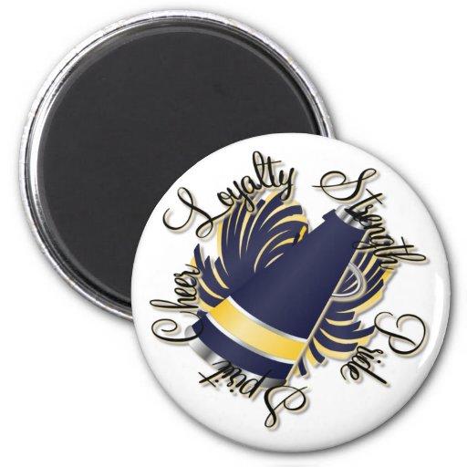 Cheer Navy and Yellow Qualities Fridge Magnets