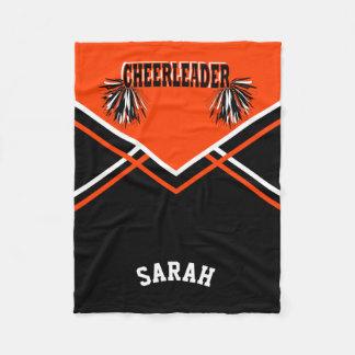 Cheer Orange Cheerleader Outfit Style Fleece Blanket