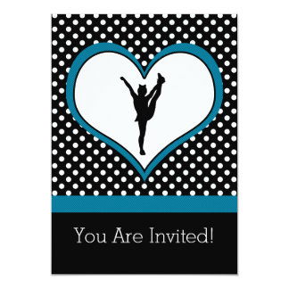 Cheer Polka-Dotted Heart in Teal Blue Card