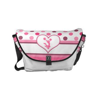 Cheer/Pom Cherry Polka-Dots w/White Heart Small Messenger Bag