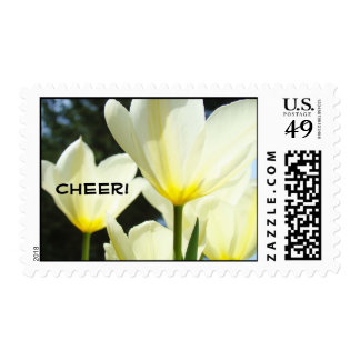 Cheer! postage stamps White Yellow Tulips