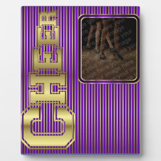 Cheer Purple and Gold Photo Plaque