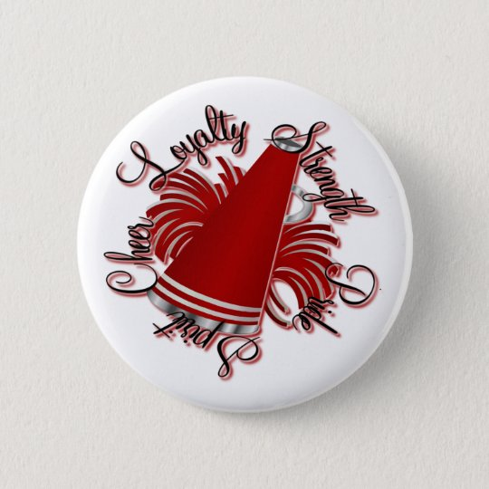 Cheer Red and White Qualities Pinback Button