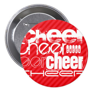 Cheer; Scarlet Red Stripes Button