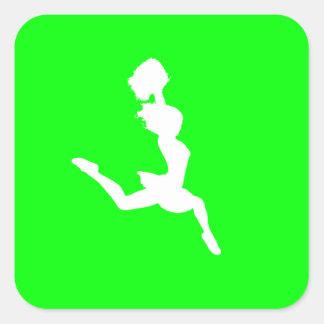 Cheer Silhouette Sticker Green