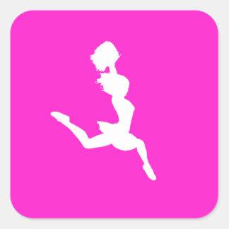 Cheer Silhouette Sticker Pink