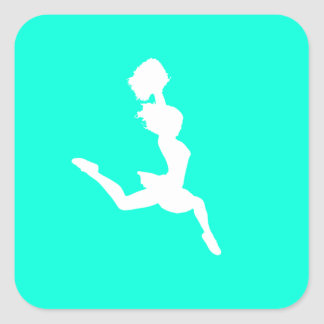 Cheer Silhouette Sticker Turquoise
