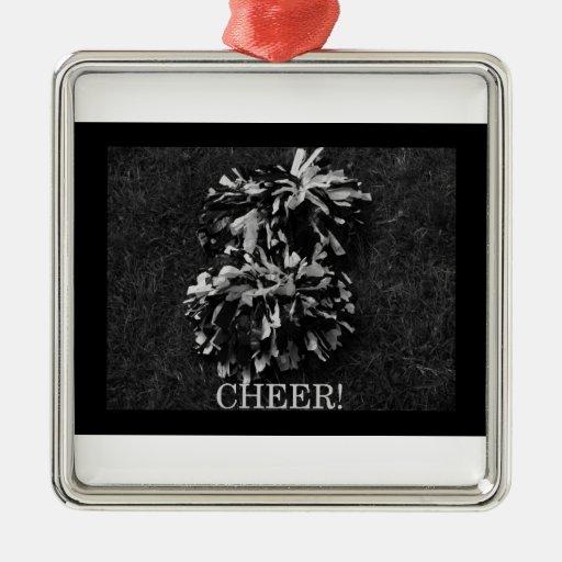 cheer! square metal christmas ornament