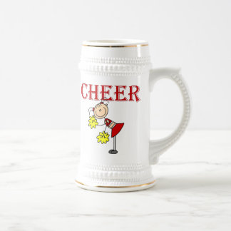 CHEER Stick Figure Cheerleader T-shirts and Gifts Beer Stein