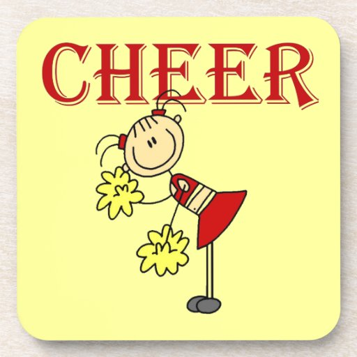CHEER Stick Figure Cheerleader T-shirts and Gifts Coasters