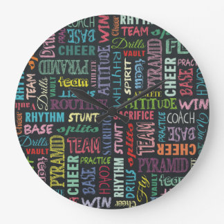Cheer Terms On The Chalkboard Large Clock