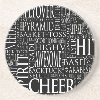 Cheer Terms Word Cloud in Black and White Coaster