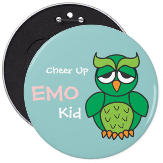 Cheer Up Emo Kid Owl Pinback Button