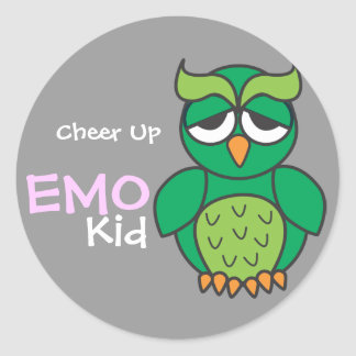 Cheer Up Emo Kid Classic Round Sticker