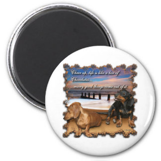 Cheer up, life is like a box of chocolates... 2 inch round magnet